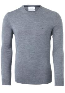 Calvin Klein O-hals trui (wol), grijs melange