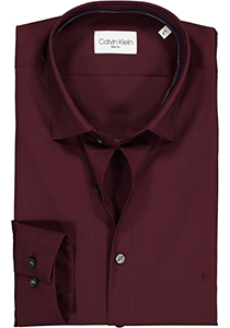 Calvin Klein overhemd Slim Fit, bordeaux rood stretch