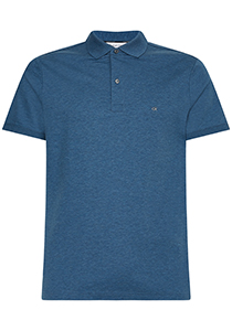 Calvin Klein Liquid touch Slim polo, middenblauw melange, stellar heather