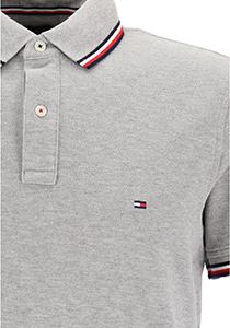 Tommy Hilfiger Core slim fit polo, heren polo met contrastbiezen, grijs melange
