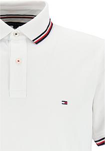 Tommy Hilfiger Core slim fit polo, heren polo met contrastbiezen, wit