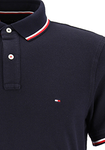 Tommy Hilfiger Core slim fit polo, heren polo met contrastbiezen, donkerblauw