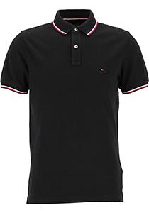 Tommy Hilfiger Core slim fit polo, heren polo met contrastbiezen, zwart