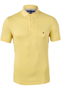 Tommy Hilfiger 1985 Slim Fit polo, licht geel, Delicate Yellow