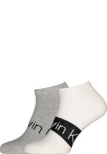 Calvin Klein herensokken Dirk (2-pack), enkelsokken, wit en grijs met logo