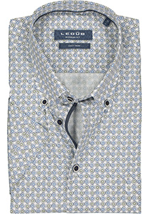 Ledub Modern Fit overhemd, korte mouw, middenblauw dessin (contrast)