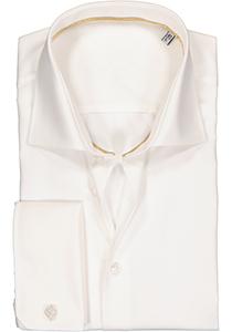 Ledub Slim Fit overhemd, dubbele manchet, beige twill