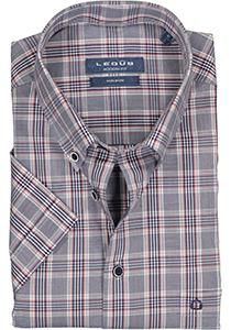 Ledub Modern Fit overhemd, korte mouw, donkerblauw met rood geruit
