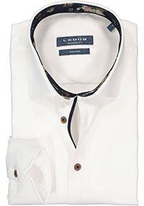 Ledub overhemd modern fit overhemd, twill, wit (gebloemd contrast)