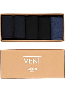 VENT herensokken katoen (5-pack), zwart, navy en jeansblauw
