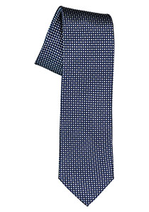 Michaelis  stropdas, zijde, donker- met lichtblauw en wit dessin