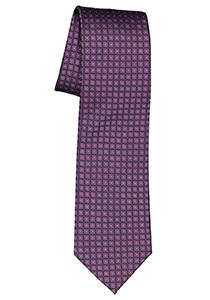 Michaelis  stropdas, zijde, paars met zwart dessin