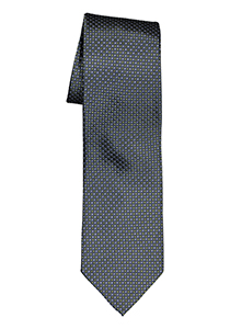Michaelis  stropdas, zijde, blauw met olijfgroen en wit dessin