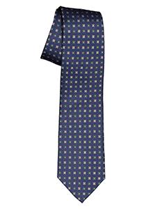 Michaelis  stropdas, zijde, blauw met olijfgroen en camel dessin