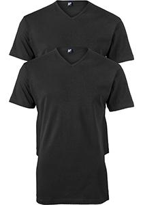 ALAN RED T-shirts Vermont extra lang (2-pack), V-hals, zwart