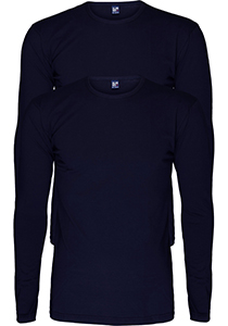 ALAN RED T-shirts Olbia (2-pack), O-hals lange mouw stretch, donkerblauw