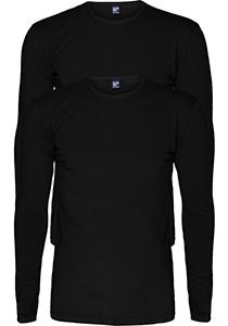 ALAN RED T-shirts Olbia (2-pack), O-hals lange mouw stretch, zwart