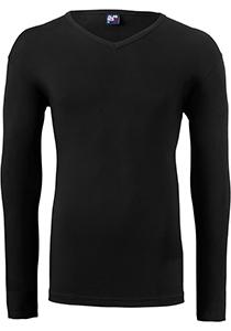 ALAN RED T-shirt Oslo (1-pack), V-hals lange mouw stretch, zwart