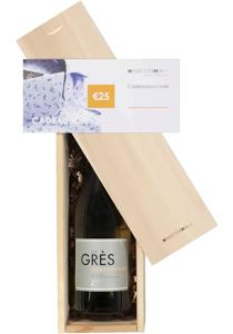 Heren en dames cadeaubox: witte wijn met cadeaubon
