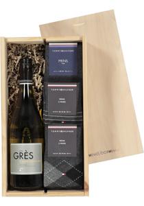 Heren cadeaubox: witte wijn met 6 paar Tommy Hilfiger sokken