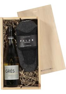 Dames en Heren cadeaubox: witte wijn met Falke Cosy Shoes antraciet