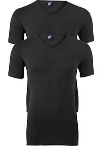 ALAN RED T-shirts Oklahoma (2-pack), V-hals stretch, zwart