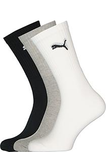 Puma unisex sportsokken (12-pack), wit, grijs en zwart