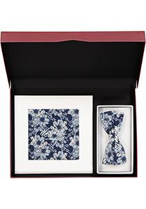 Cadeauset Michaelis strikje met pochet, blauw gebloemd in cadeaudoos