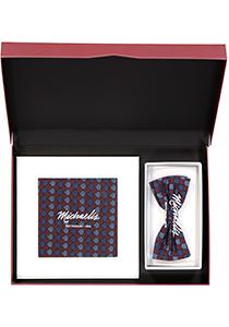 Cadeauset Michaelis strikje met pochet, blauw - bordeaux dessin in cadeaudoos