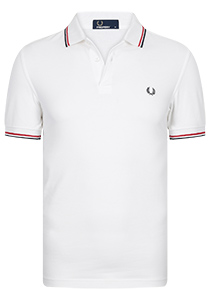 Fred Perry M3600 shirt, polo White / Bright Red / Navy