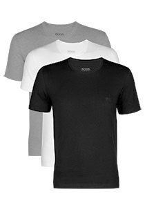 Actie 3-pack: Hugo Boss T-shirts Regular Fit, O-hals, zwart, wit en grijs