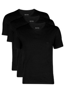 Actie 3-pack: Hugo Boss T-shirts Regular Fit, V-hals, zwart