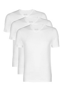 Actie 3-pack: Hugo Boss T-shirts Regular Fit, V-hals, wit