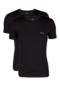 2-pack: Hugo Boss stretch T-shirts Regular Fit, O-hals, zwart
