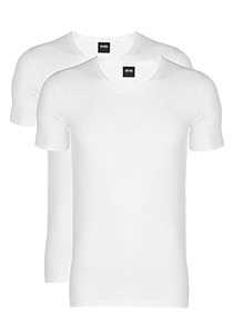 2-pack: Hugo Boss stretch T-shirts Slim Fit, V-hals, wit