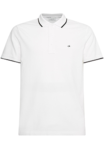 Calvin Klein Tipping Slim polo (stretch), wit