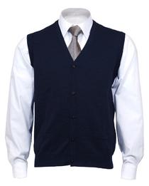 OLYMP mouwloos heren vest wol, V-hals, marine blauw