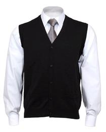 OLYMP mouwloos heren vest wol, V-hals, zwart