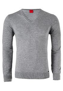 OLYMP Level 5 Body Fit heren trui, wol met zijde, grijs