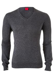OLYMP Level 5 Body Fit heren trui, wol met zijde, antraciet grijs