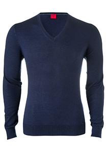 OLYMP Level 5 Body Fit heren trui, wol met zijde, blauw
