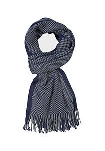 Michaelis heren sjaal, navy blauw - grijs dessin