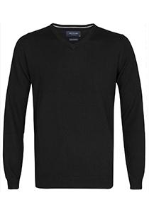 Profuomo Originale slim fit trui wol, heren pullover V-hals, zwart