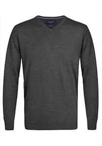 Profuomo Originale slim fit trui wol, heren pullover V-hals, antraciet grijs