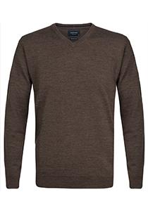 Profuomo Originale slim fit trui wol, heren pullover V-hals, bruin
