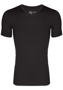 RJ Bodywear Pure Color T-shirt V-hals, zwart (micro)