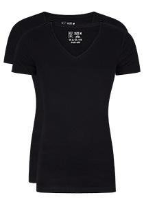 RJ Bodywear Everyday Alkmaar 2-pack T-shirt diepe V-hals, zwart rib