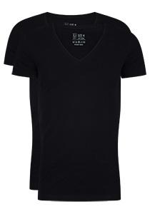 RJ Bodywear Everyday Nijmegen 2-pack stretch T-shirt diepe V-hals, zwart