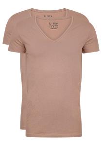 RJ Bodywear Everyday Nijmegen 2-pack stretch T-shirt diepe V-hals, huidskleur