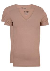 RJ Bodywear Everyday Tilburg 2-pack stretch T-shirt diepe V-hals, huidskleur (raw edge)